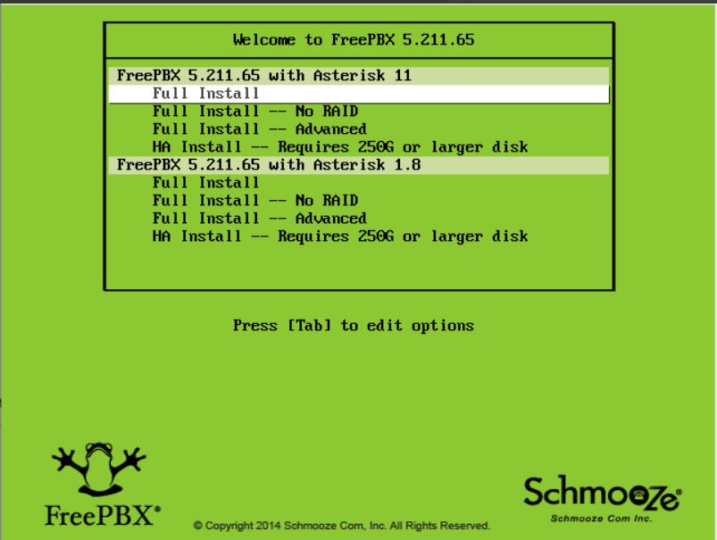 مرحله 1 نصب FREEPBX انتخاب گزینه های نصب